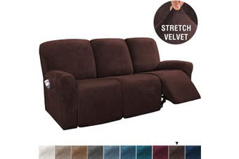 (Large, Brown) - H.VERSAILTEX 8-Pieces Recliner Sofa Covers Velvet Stretch Reclining Couch Covers for 3 Cushion Sofa Slipcovers Furniture Covers Form Fit Customised Style Thick Soft Washable(Large, Brown)