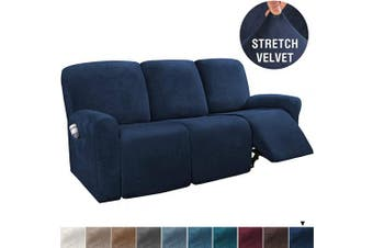 (Large, Navy) - H.VERSAILTEX 8-Pieces Recliner Sofa Covers Velvet Stretch Reclining Couch Covers for 3 Cushion Sofa Slipcovers Furniture Covers Form Fit Customised Style Thick Soft Washable(Large, Navy)