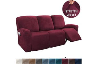 (Large, Burgundy) - H.VERSAILTEX 8-Pieces Recliner Sofa Covers Velvet Stretch Reclining Couch Covers for 3 Cushion Sofa Slipcovers Furniture Covers Form Fit Customised Style Thick Soft Washable(Large, Burgundy)