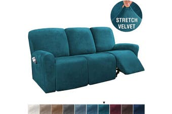 (Large, Deep Teal) - H.VERSAILTEX 8-Pieces Recliner Sofa Covers Velvet Stretch Reclining Couch Covers for 3 Cushion Sofa Slipcovers Furniture Covers Form Fit Customised Style Thick Soft Washable(Large, Deep Teal)