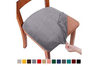 (4PCS, Grey) - smiry Original Velvet Dining Chair Seat Covers, Stretch Fitted Dining Room Upholstered Chair Seat Cushion Cover, Removable Washable Furniture Protector Slipcovers with Ties - Set of 4, Grey