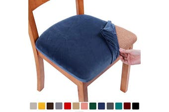 (4PCS, Federal Blue) - smiry Original Velvet Dining Chair Seat Covers, Stretch Fitted Dining Room Upholstered Chair Seat Cushion Cover, Removable Washable Furniture Protector Slipcovers with Ties - Set of 4, Federal Blue