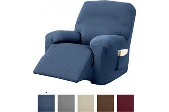 (Recliner, Navy) - Great Bay Home Textured Slipcover, Stretch Recliner Slipcover. Decorative Cord/Rope Form Fit, Slip Resistant, Strapless Slipcover. Saria Collection (Recliner, Navy)