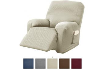 (Recliner, Beige) - Great Bay Home Textured Slipcover, Stretch Recliner Slipcover. Decorative Cord/Rope Form Fit, Slip Resistant, Strapless Slipcover. Saria Collection (Recliner, Beige)