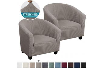 (2, Taupe) - High Stretch Club Chair Cover Tub Chair Cover Armchair Sofa Slipcover with Elastic Bottom Super Soft Jacquard Spandex Skid Resistance Furniture Protector (2 Piece, Taupe)