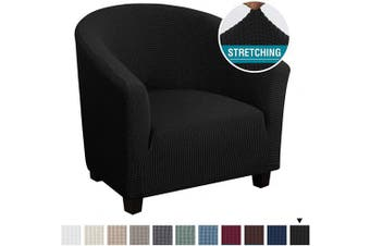 (1, Black) - High Stretch Club Chair Cover Tub Chair Cover Armchair Sofa Slipcover with Elastic Bottom Super Soft Jacquard Spandex Skid Resistance Furniture Protector (1 Piece, Black)