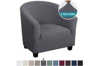 (1, Gray) - High Stretch Club Chair Cover Tub Chair Cover Armchair Sofa Slipcover with Elastic Bottom Super Soft Jacquard Spandex Skid Resistance Furniture Protector (1 Piece, Grey)