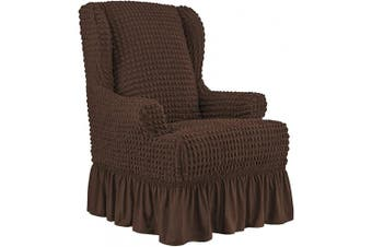 (Chocolate) - CHUN YI Wing Chair Slipcover 1-Piece Universal Easy Fitted Wingback Chair Slipcover with Skirt Elegant Ruffle, High Elastic Seersucker Wing Back Chair Cover(Chocolate)