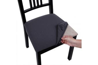 (Style A-6pcs, Dark Gray) - Homaxy Premium Jacquard Dining Room Chair Seat Covers, Washable Spandex Stretch Dinning Chair Upholstered Cushion Cover, Waffle Slipcover Protectors with Ties - Set of 6, Dark Grey