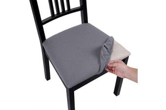 (Style A-2pcs, Light Gray) - Homaxy Premium Jacquard Dining Room Chair Seat Covers, Washable Spandex Stretch Dinning Chair Upholstered Cushion Cover, Waffle Slipcover Protectors with Ties - Set of 2, Light Grey …