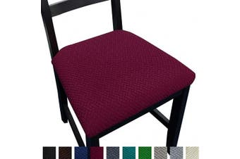 (4, Wine Red) - NORTHERN BROTHERS Seat Covers for Dining Room Chair Seat Covers (Wine Red, 4)