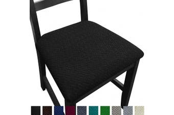 (4, Black) - NORTHERN BROTHERS Seat Covers for Dining Room Chairs Stretch Chair Seat Covers (Black, 4)