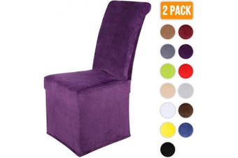 (2, Violet) - Colorxy Velvet Stretch Chair Covers for Dining Room, Soft Removable Long Solid Dining Chair Slipcovers Set of 2, Violet