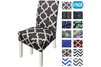 (6, Dark Gray) - NORTHERN BROTHERS Chair Covers for Dining Room Printed Dining Chair Covers (Set of 6,Dark Grey)