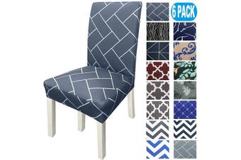 (6, Navy Brick) - NORTHERN BROTHERS Chair Covers for Dining Room Printed Dining Chair Covers (Set of 6,Navy Brick)