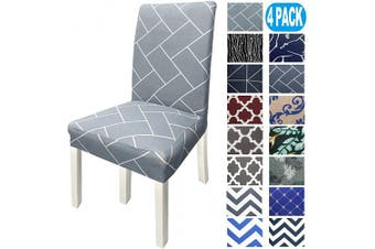 (4, Light Gray Brick) - NORTHERN BROTHERS Chair Covers for Dining Room Printed Dining Chair Covers (Set of 4,Light Grey Brick)