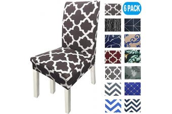 (6, Coffee) - NORTHERN BROTHERS Chair Covers for Dining Room Printed Dining Chair Covers (Set of 6,Coffee)