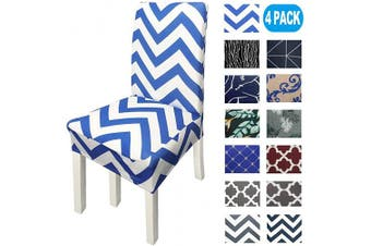 (4, Wavy Blue) - NORTHERN BROTHERS Chair Covers for Dining Room Printed Dining Chair Covers (Set of 4,Wavy Blue)