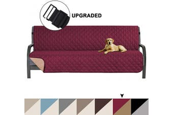 (Burgundy/Tan) - Turquoize Microfiber Pets Sofa Protector Couch Covers for 3 Cushion Couch Reversible Furniture Protector Futon Cover with Elastic Straps Slip Resistant Sofa Slipcover Protector, Futon, Burgundy/Tan
