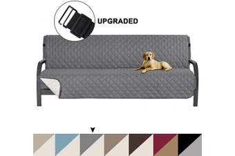 (Grey/Beige) - Turquoize Pet Friendly Reversible Furniture Sofa Futon Protector, Seat Width to 180cm Sofa Covers for Living Room, Couch Covers for 3 Cushion Futon for Dogs Cover,Furniture Protector, Futon, Grey/Beige