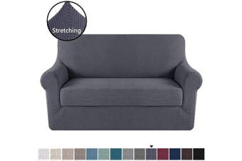 (Gray) - H.VERSAILTEX Loveseat Slipcover 2 Piece Stretch Loveseat Cover Couch Cover|Sofa Cover for Loveseat with Individual Seat Cushion Cover, Feature Small Checked Jacquard (Loveseat 150cm - 180cm , Grey)