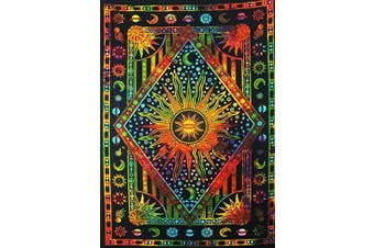ANJANIYA Burning Sun Tie Dye Tapestry, Celestial Sun Moon Planet Bohemian Poster Tapestry Wall Hanging Boho Tapestry Hippie Hippy Tapestry Beach Coverlet Curtain (Orange Multi, Twin (140cm X 220cm ))