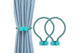 (Lake Blue) - YOLIFE Strong Magnetic Curtain Tiebacks, Octagon Style Curtain Holdbacks Unique Designed Tie Backs for Curtain Drape Holder Braided Rope Holdback -Lake Blue …