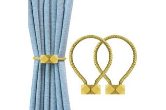 (Gold) - YOLIFE Strong Magnetic Curtain Tiebacks, Octagon Style Curtain Holdbacks Unique Designed Tie Backs for Curtain Drape Holder Braided Rope Holdback(Gold, 2 Pack(41cm )) …