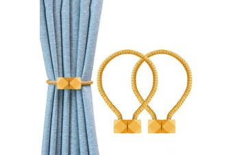 (Ricewine Colored) - YOLIFE Strong Magnetic Curtain Tiebacks, Octagon Style Curtain Holdbacks Unique Designed Tie Backs for Curtain Drape Holder Braided Rope Holdback (Wheat-Coloured)