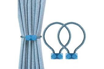 (Blue) - YOLIFE Strong Magnetic Curtain Tiebacks, Octagon Style Curtain Holdbacks Unique Designed Tie Backs for Curtain Drape Holder Braided Rope Holdback(Blue, 2 Pack(41cm ))