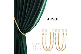 (4, Gold) - CHICTIE 70cm Long 1.5cm Thicken Curtain Tieback Ropes with Metal Hooks Simple Hand Knitting Window Drapes Holdbacks for Indoor Outdoor Decorative (Gold, 4)