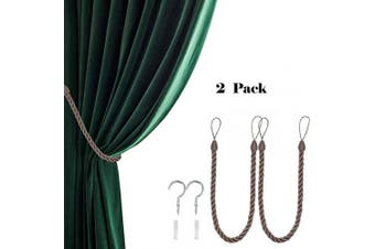 (2, Flax Brown) - CHICTIE 70cm Long 1.5cm Thicken Curtain Tieback Ropes with Metal Hooks Simple Hand Knitting Window Drapes Holdbacks for Indoor Outdoor Decorative (Flax Brown, 2)