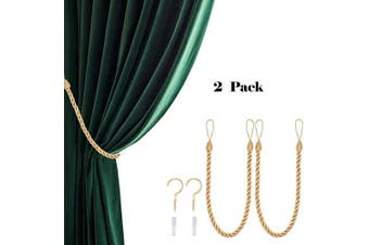 (2, Gold) - CHICTIE 70cm Long 1.5cm Thicken Curtain Tieback Ropes with Metal Hooks Simple Hand Knitting Window Drapes Holdbacks for Indoor Outdoor Decorative (Gold, 2)