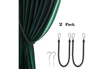 (2, Black Gray) - CHICTIE 70cm Long 1.5cm Thicken Curtain Tieback Ropes with Metal Hooks Simple Hand Knitting Window Drapes Holdbacks for Indoor Outdoor Decorative (Black Grey, 2)
