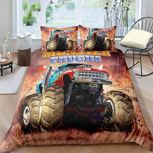 Helehome Monster Truck Duvet Cover Set Boys Hobby Sports Bedding Set With Flame Exotic Automobile Style Image Decorative 3 Piece Bedding Set With 2 Pillow Shams Full Size Matt Blatt