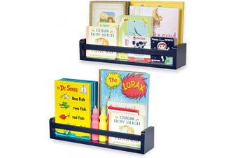 brightmaison Children's Wall Shelves – 2 Shelf Set - Wood Bookcase Toy Game CDs Storage Display Organiser – Bookshelves for Kids Room - Ships Fully Assembled (Navy Blue)