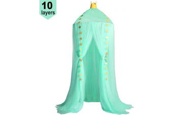 (Green) - Jolitac Princess Bed Canopy for Kids Room Decor Round Lace Mosquito Net Play Tent Baby House Canopys Yarn Girls Dome Netting Curtains Girls Games House Pink Castle (Green)