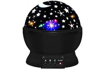 Elecstars LED Night Lighting Lamp Light up Your Bedroom with This Moon, Star,Sky Romantic - Best Gift for Men Women Teens Kids Children Sleeping Aid Black…