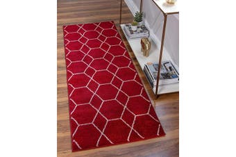 (0.6m 0m x 1.8m 0 Runner, Red) - Unique Loom Trellis Frieze Collection Lattice Moroccan Geometric Modern Red Runner Rug (0.6m 0m x 1.8m 0)