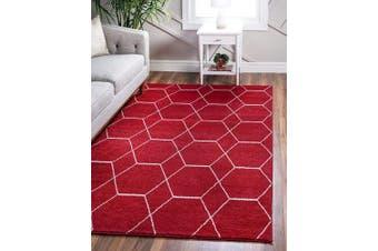 (0.6m 0m x 0.9m 0 Rectangle, Red) - Unique Loom Trellis Frieze Collection Lattice Moroccan Geometric Modern Red Area Rug (0.6m 0m x 0.9m 0)