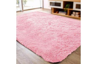 (0.6m x 0.9m, Pink) - ACTCUT Super Soft Indoor Modern Shag Area Silky Smooth Rugs Fluffy Anti-Skid Shaggy Area Rug Dining Living Room Carpet (0.6m x 0.9m, Pink)