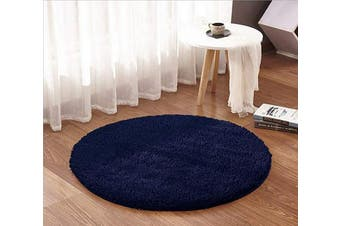 (1.2m Round, Navy) - ACTCUT Super Soft Indoor Modern Shag Area Silky Smooth Rugs Fluffy Anti-Skid Shaggy Area Rug Dining Living Room Carpet (1.2m Round, Navy)