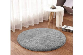 (1.2m Round, Grey) - ACTCUT Super Soft Indoor Modern Shag Area Silky Smooth Rugs Fluffy Anti-Skid Shaggy Area Rug Dining Living Room Carpet (1.2m Round, Grey)