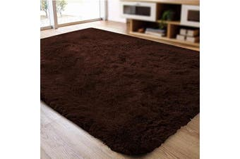 (0.6m x 0.9m, Coffee) - ACTCUT Super Soft Indoor Modern Shag Area Silky Smooth Rugs Fluffy Anti-Skid Shaggy Area Rug Dining Living Room Carpet (0.6m x 0.9m, Coffee)