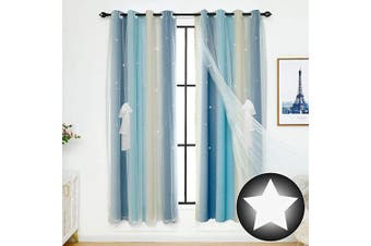 (1 Pc   52W x 63L, Stripe Blue) - ARTBECK Kids Star Blackout Curtains Gradient Sheer Curtains Hollow-Out Stars Curtains Double Layer Window Blackout Drapes for Kid's Bedroom, Living Room (Stripe Blue, 1 Pc   52W x 63L)