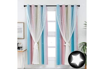 (1 Pc   52W x 63L, Stripe Rainbow-3) - ARTBECK Hollow-Out Stars Curtains Gradient Stripes Solid Colour Curtain Sheer Double Layer Window Blackout Drapes for Kid's Bedroom, Living Room (Stripe Rainbow-3, 1 Pc   52W x 63L)