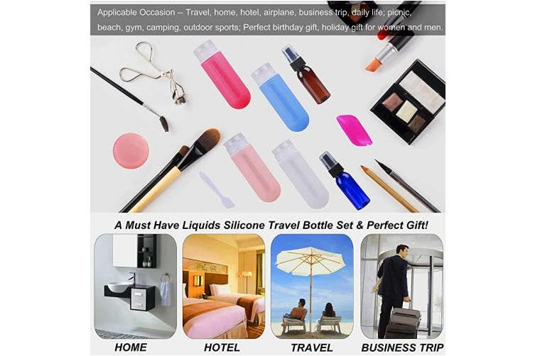 18Pcs Travel Bottles Set, REERON 90ml Leak Proof Silicone Travel Containers TSA Approved, Refillable Toiletries Travel Tubes Accessorie & Spray Bottles & Cream Jars, For Cosmetic Shampoo Lotion Liquids