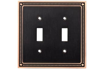 (Double Switch Wall Plate/Switch Plate/Cover, Single, Bronze With Copper Highlights) - Franklin Brass W35061-VBC-C Classic Beaded Double Toggle Switch Wall Plate / Switch Plate / Cover, Bronze with Copper Highlights