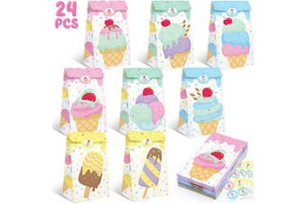 Ice Cream Party Favour Bags Ice Cream Popsicle Social Gift Bags Summer Sprinkles Goodie Treat Bags Kids Themed Baby Shower Birthday Party Supplies Set of 24