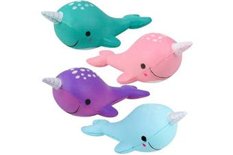 ArtCreativity Squeezy Narwhals, Set of 4, Scented Slow Rising Stress Relief Toys for Kids, Squeezable Narwhale Birthday Party Favours and Goodie Bag Fillers, 4 Cute Colours